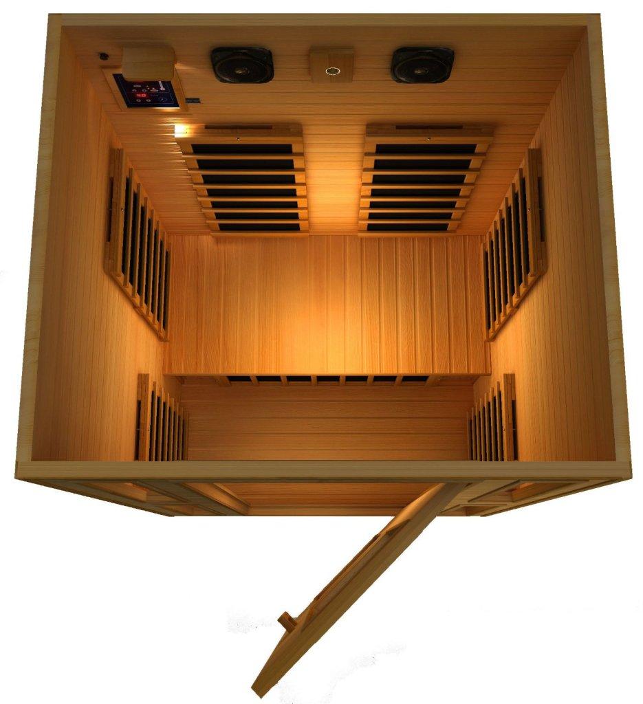 JNH Lifestyles 2 Person Far Infrared sauna top view, Portable Infrared Sauna