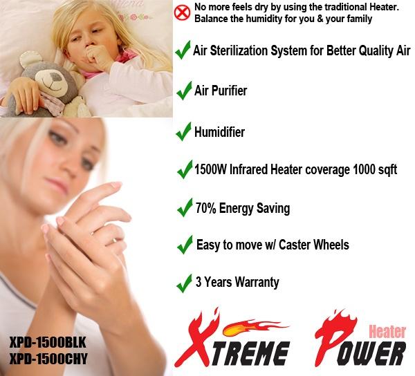 XtemePower 1500W Quartz Infrared Heater